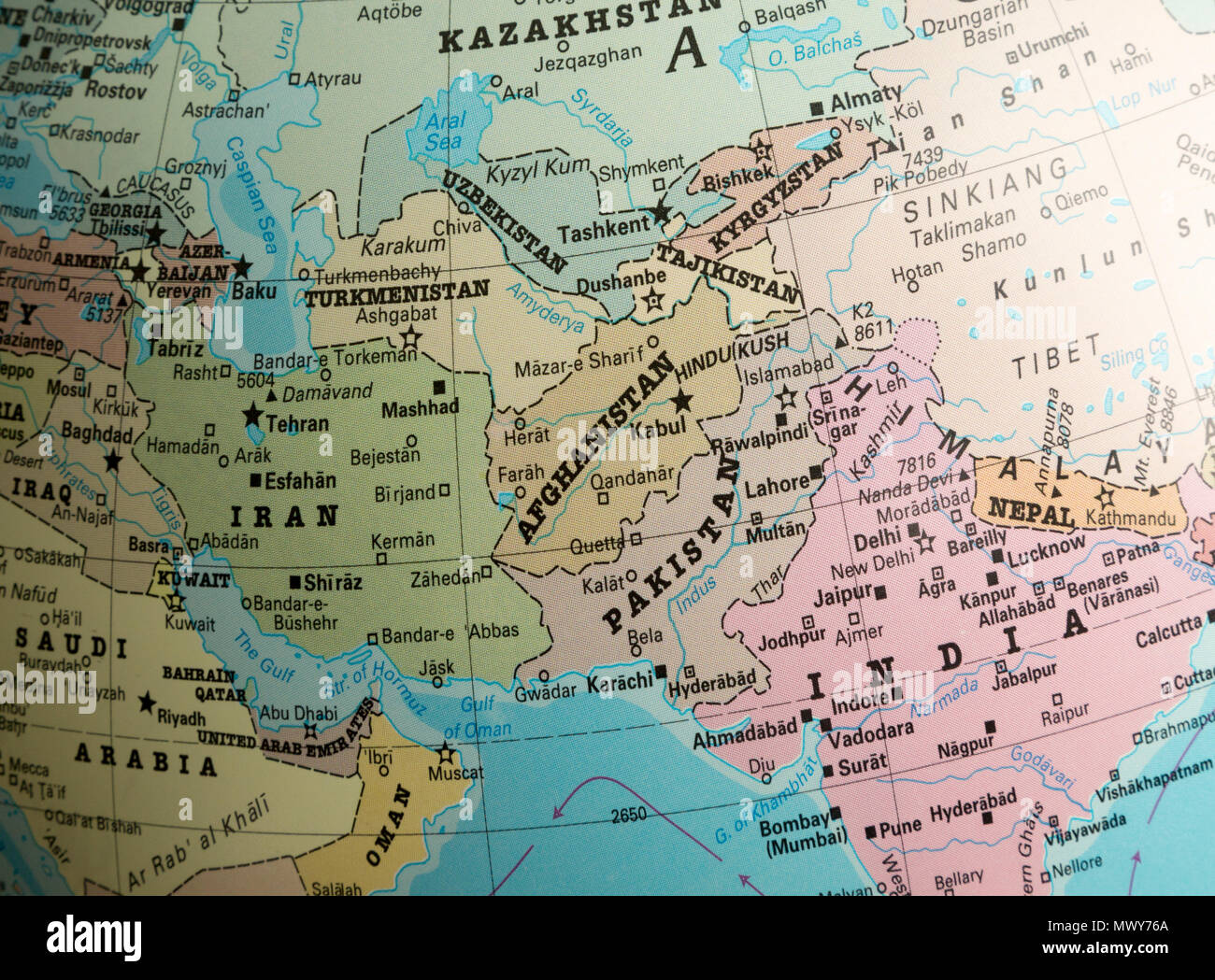 Map Of Asia Far East.Far East Asia Map On A Globe Focused On Afghanistan And Pakistan