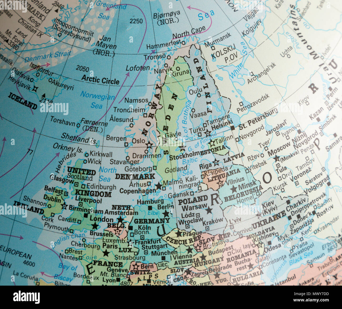 North west Europe map on a globe focused on Scandinavia Stock Photo ...