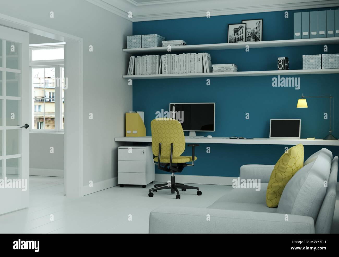 Modern Home Office With Yellow Chair And Blue Wall Interior Design 3d  Rendering