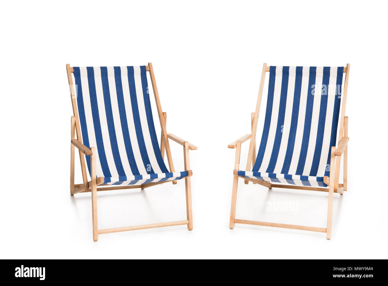Enjoyable Two Striped Beach Chairs Isolated On White Stock Photo Caraccident5 Cool Chair Designs And Ideas Caraccident5Info