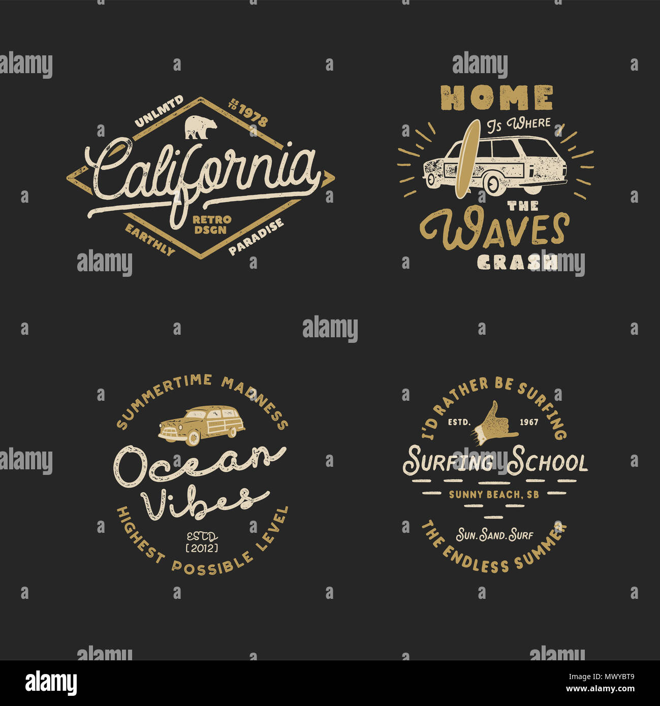 Vntage Hand Drawn Surfing Graphics and Emblems for web design or print. Surfer logotypes. Surf Logo. Summer surf logo typography insignia collection. Stock hipster patches isolated on white - Stock Image