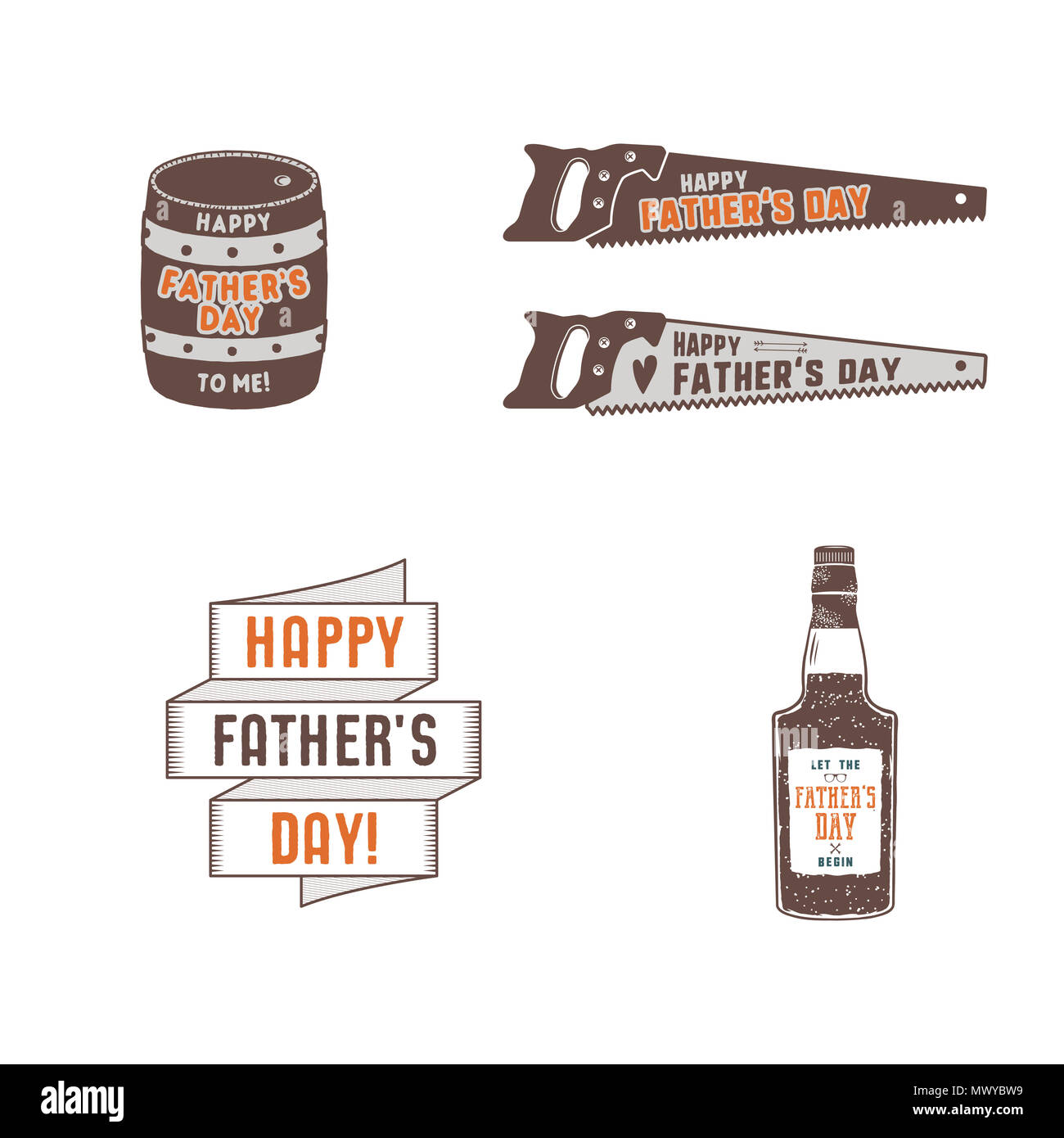Fathers day badges, labels collection. Holiday stickers for t shirts and other identity. Retro color design. Vintage father day logotypes and insignias. Stock isolated on white background - Stock Image