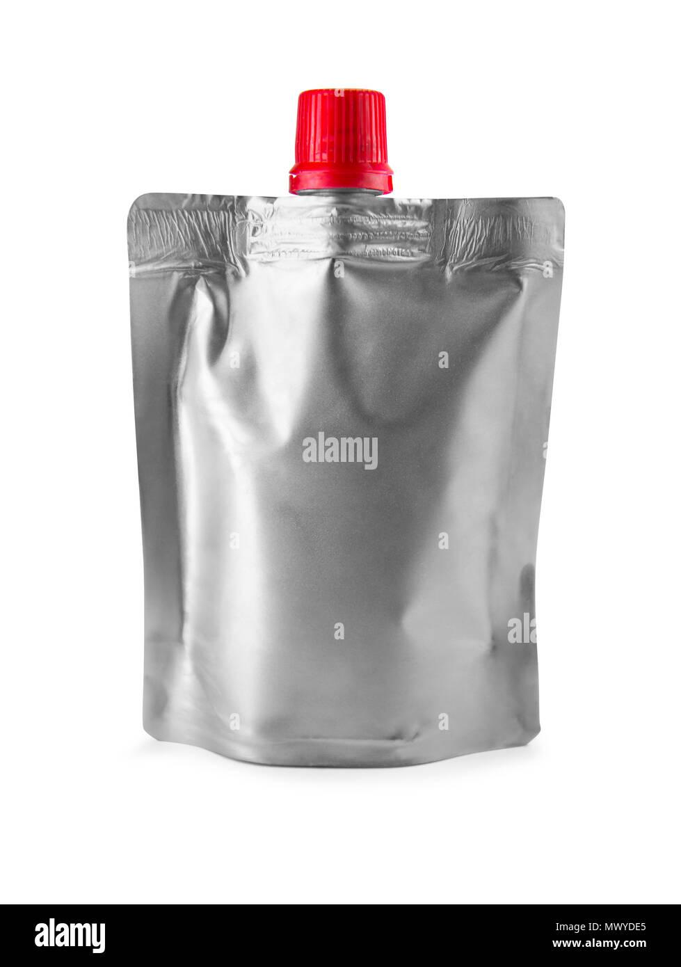 aluminum doy-pack on white background - Stock Image