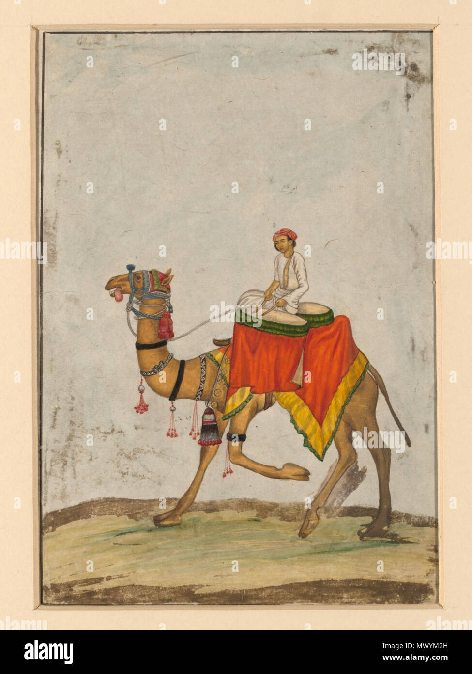 .  English: One of six figures from the Mughal emperor's ceremonial procession on the occasion of the Id. . circa 1840(painted). Khan, Mazhar Ali (possibly, Artist) 19 A camel with its rider playing kettle drums. Stock Photo