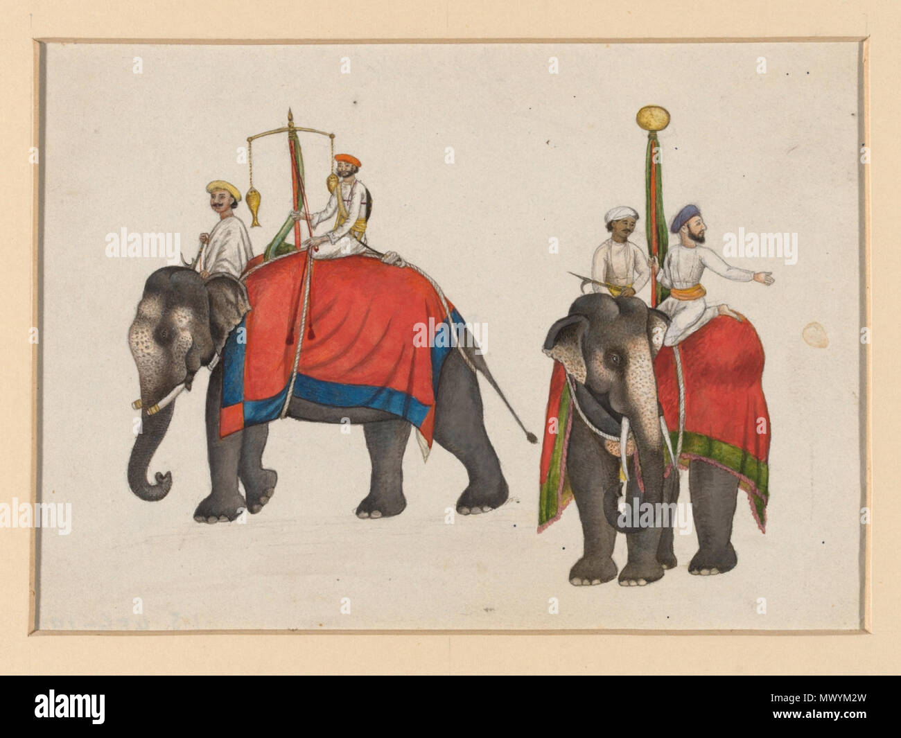 .  English: One of six figures from the Mughal emperor's ceremonial procession on the occasion of the Id.  Object:   Gouache  Place of origin:   Delhi, India (made)  Date:   ca. 1840 (painted)  Artist/Maker:   Mazhar Ali Khan (possibly) (artist)  Materials and Techniques:   Gouache  Museum number:   IS.486-1950  Gallery location:   In Storage  Download image   More information  Map Download PDF version Physical description Two elephants carrying the fish and sun insignia of Mughal sovereignty. One of a set of six images from the Mughal emperor's ceremonial procession on the occasion of Id. Pla Stock Photo