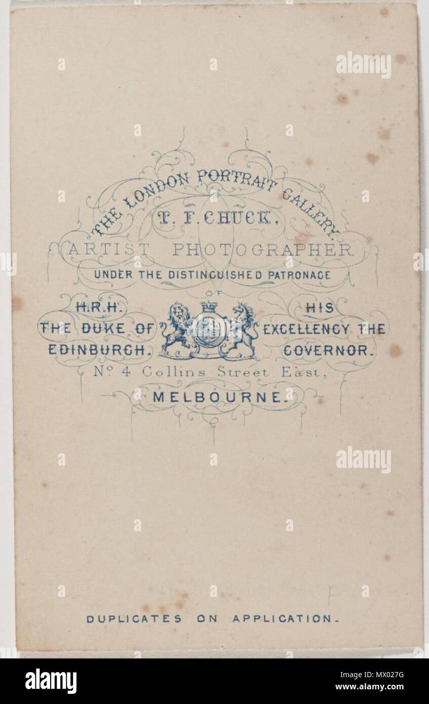 Francais Verso De La Carte Visite Thomas Foster Chuck Pour Son Studio Royal Arcade A Melbourne 1868 1826 1898 605