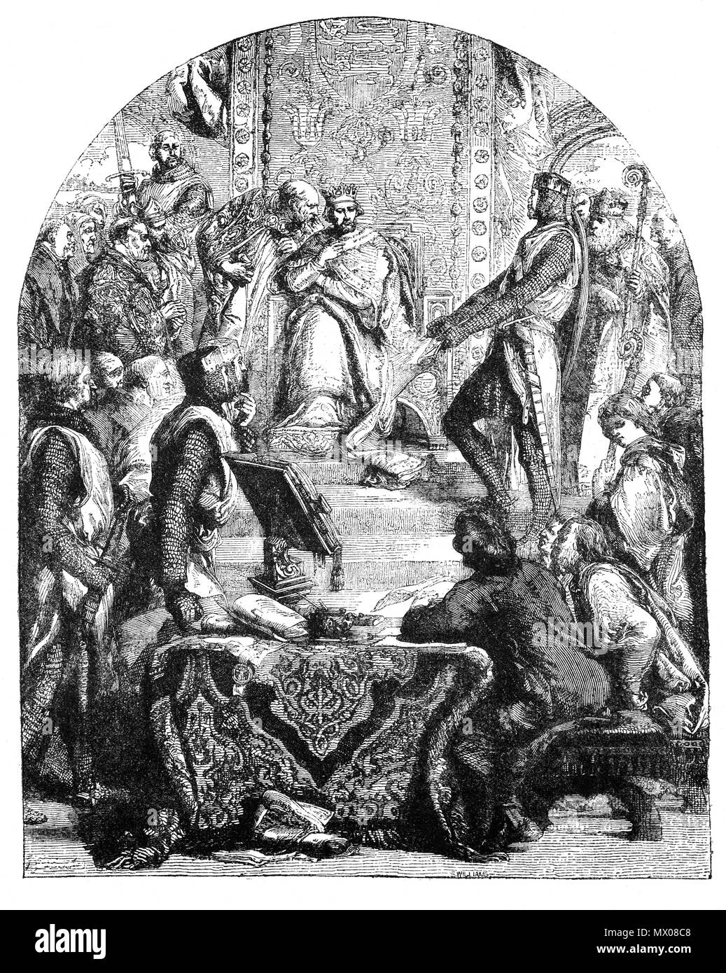Henry III (1207-1272), was critically important to the history of Magna Carta. Following King John's death in 1216 Henry, just a young boy aged 9, inherited the throne  in the midst of civil war and on the verge of defeat to the French Prince Louis (later King Louis IX). The 'minority government' led by William Marshal, attempted to tempt the rebel barons back to Henry's side by a re-issue of Magna Carta conceding  the rights the rebel barons had been fighting for.  On 11 February 1225 King Henry III issued what became the final and definitive version of Magna Carta. - Stock Image