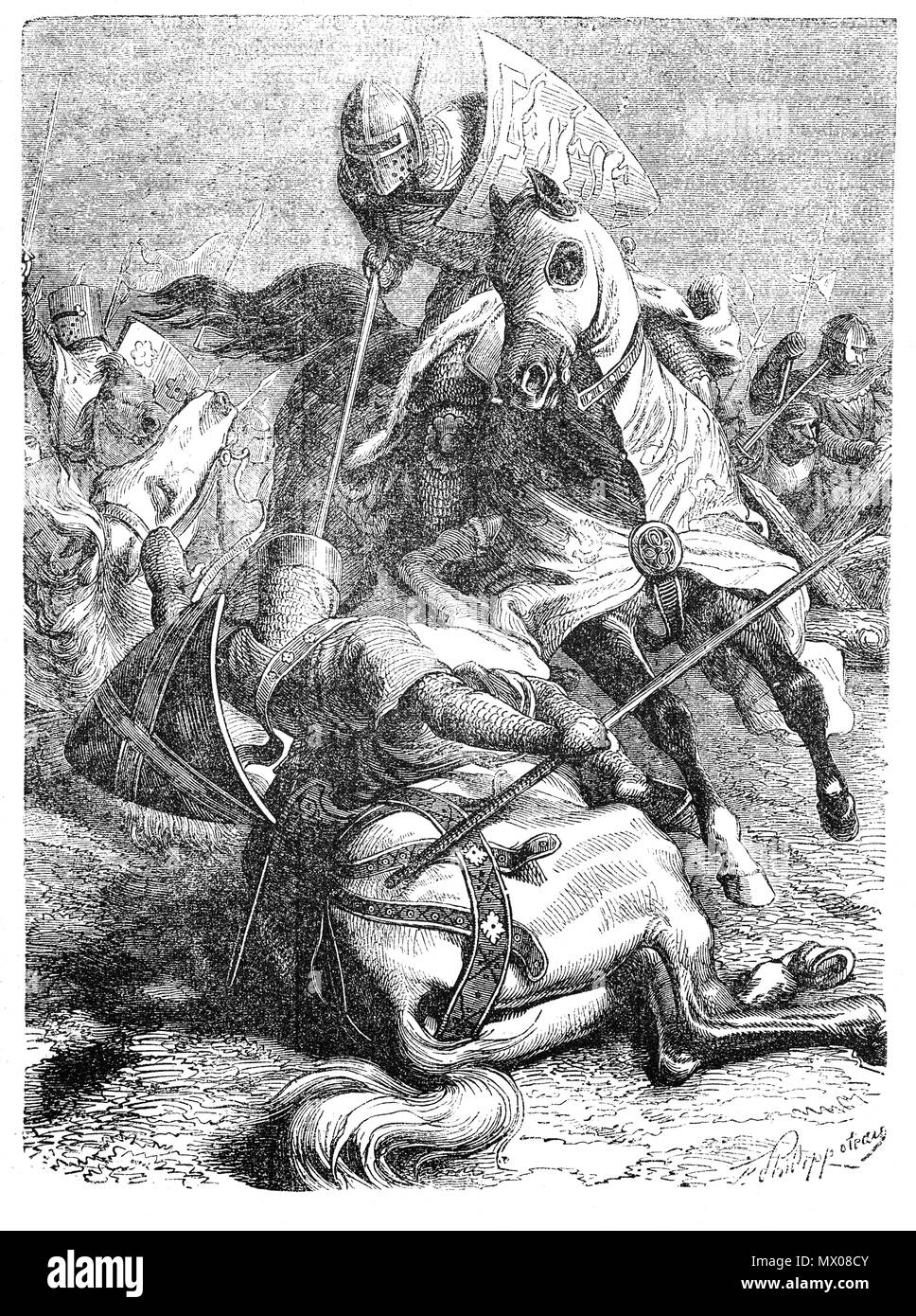 The Battle of Evesham on the 4 August 1265, was one of the two main battles of the Second Barons' War. It marked the defeat of Simon de Montfort, Earl of Leicester, and the rebellious barons by the future King Edward I, who led the forces of his father, King Henry III. It took place on 4 August 1265, near the town of Evesham, Worcestershire. During the battle Prince Edward entered into combat with Baron Adam Gourdon. The latter was wounded, thrown from his horse and taken prisoner. Edward procured Gourdon's pardon who went on to beferiend and serve the prince. - Stock Image