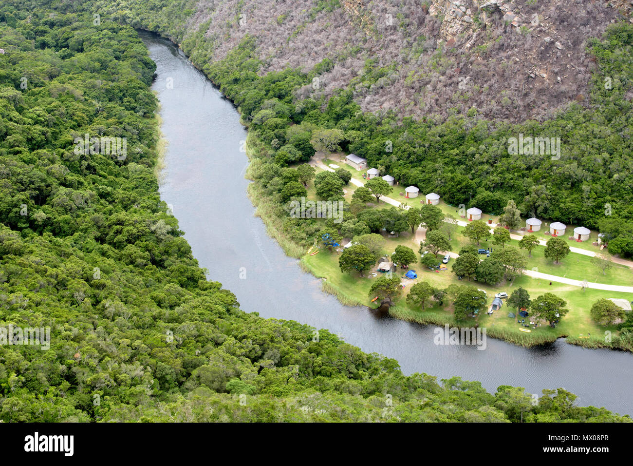 Aerial view of the Ebb & Flow camp in the Wilderness area of the Garden Route in South Africa - Stock Image