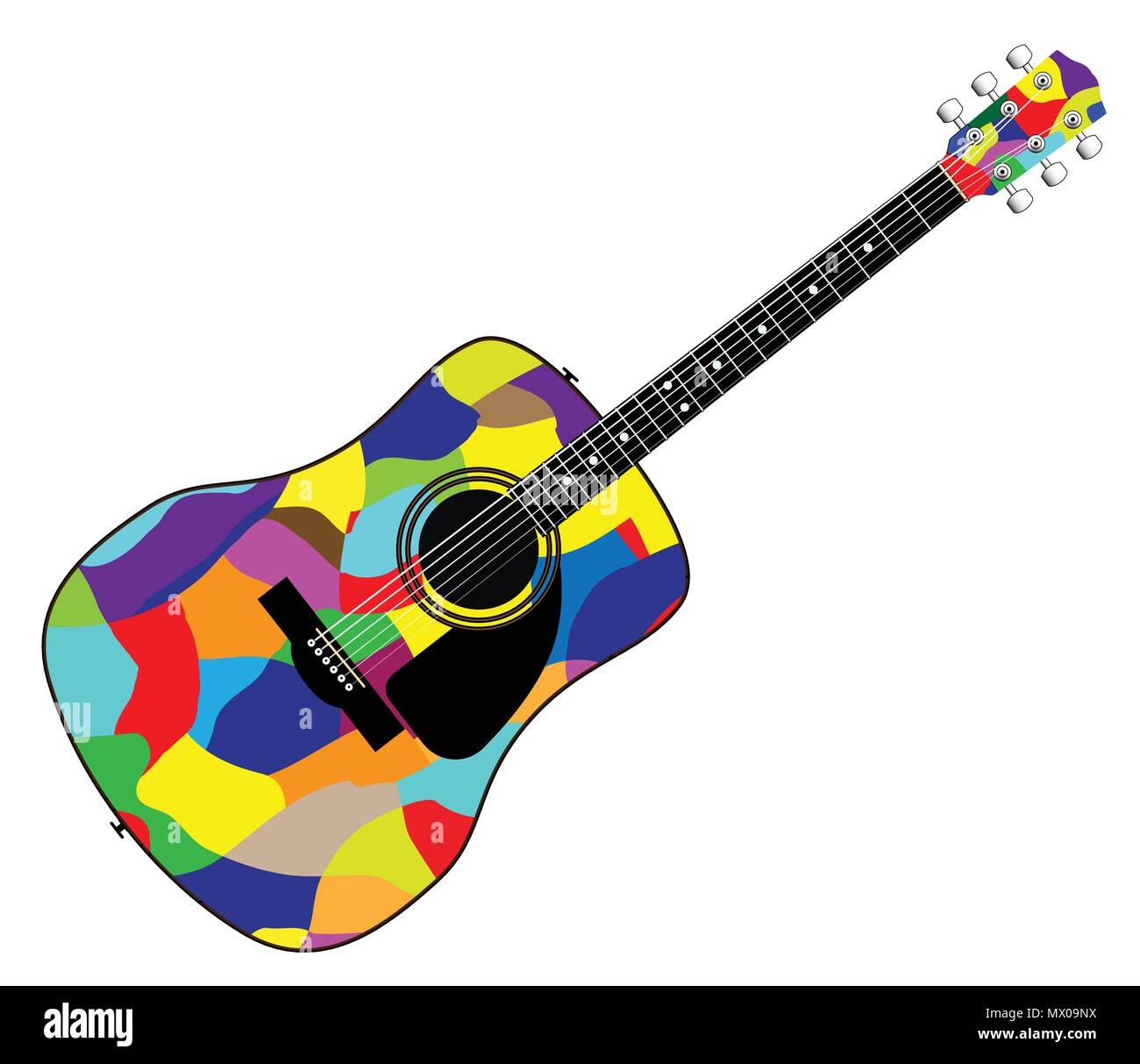 A Typical Acoustic Guitar Isolated Over A White Background Stock