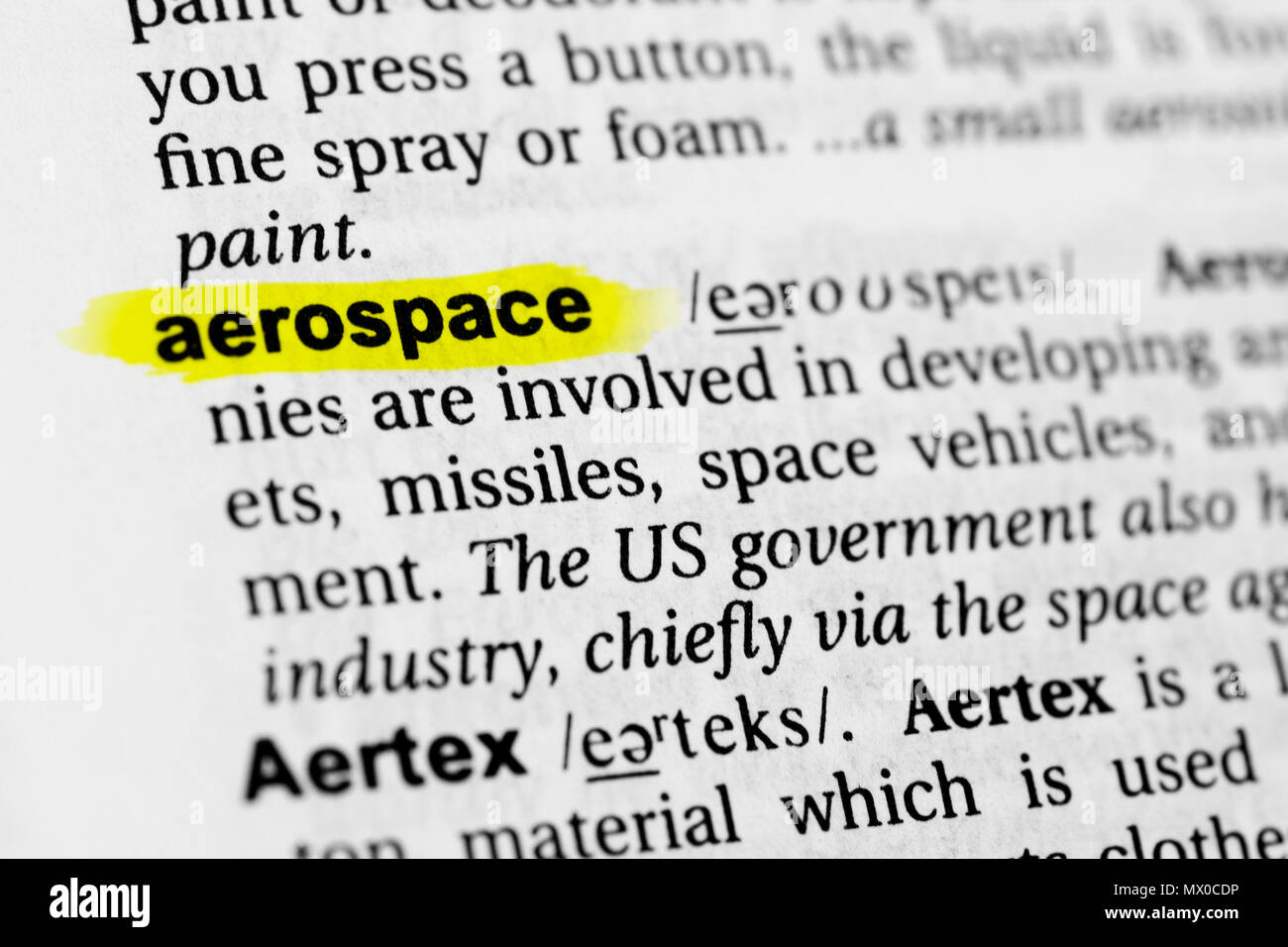 Highlighted English word 'aerospace' and its definition in the dictionary. - Stock Image