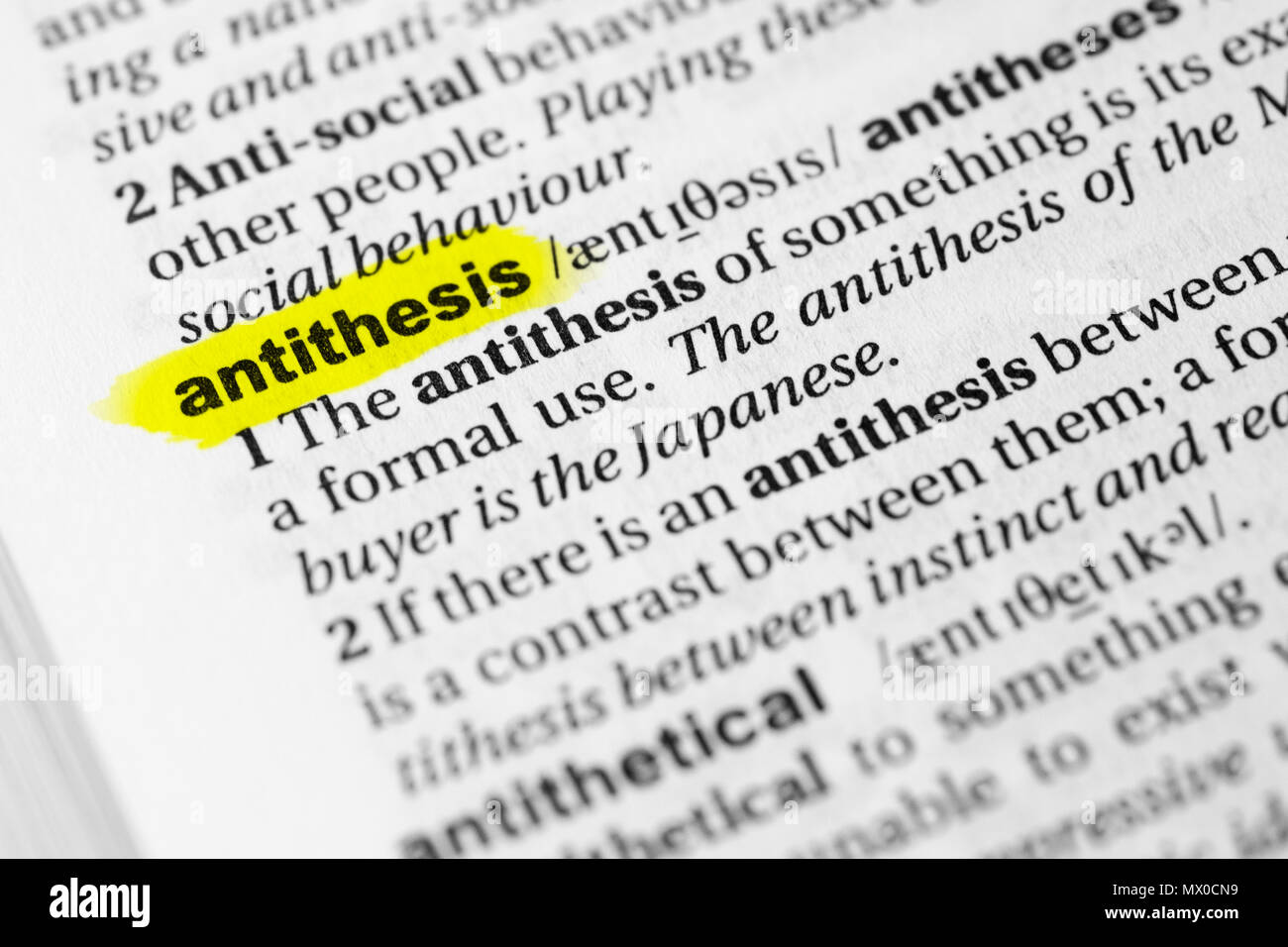 highlighted english word antithesis and its definition in the