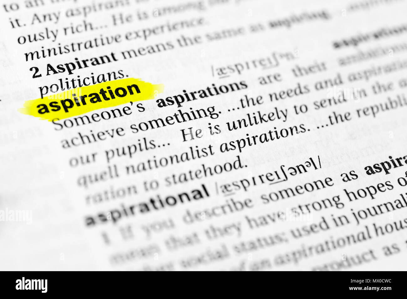 Highlighted English word 'aspiration' and its definition in the dictionary. - Stock Image