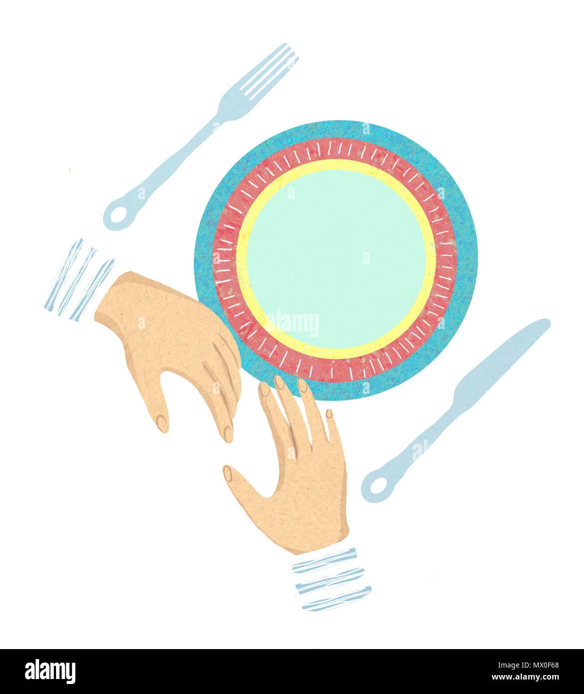 Cutlery etiquette. Restaurant etiquette. Forks and knifes signals. Table manner. Dining etiquette Stock Photo