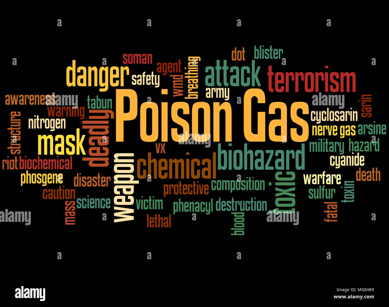 Poison gas word cloud concept on black background. - Stock Image