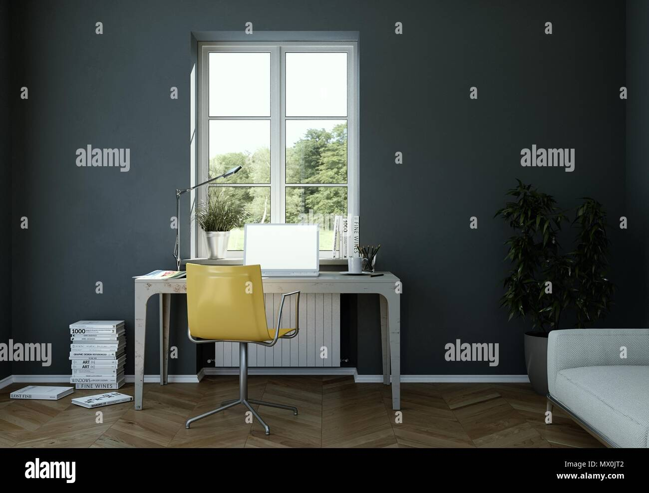 Vintage Dark Wall Home Office Interior Design 3d Rendering
