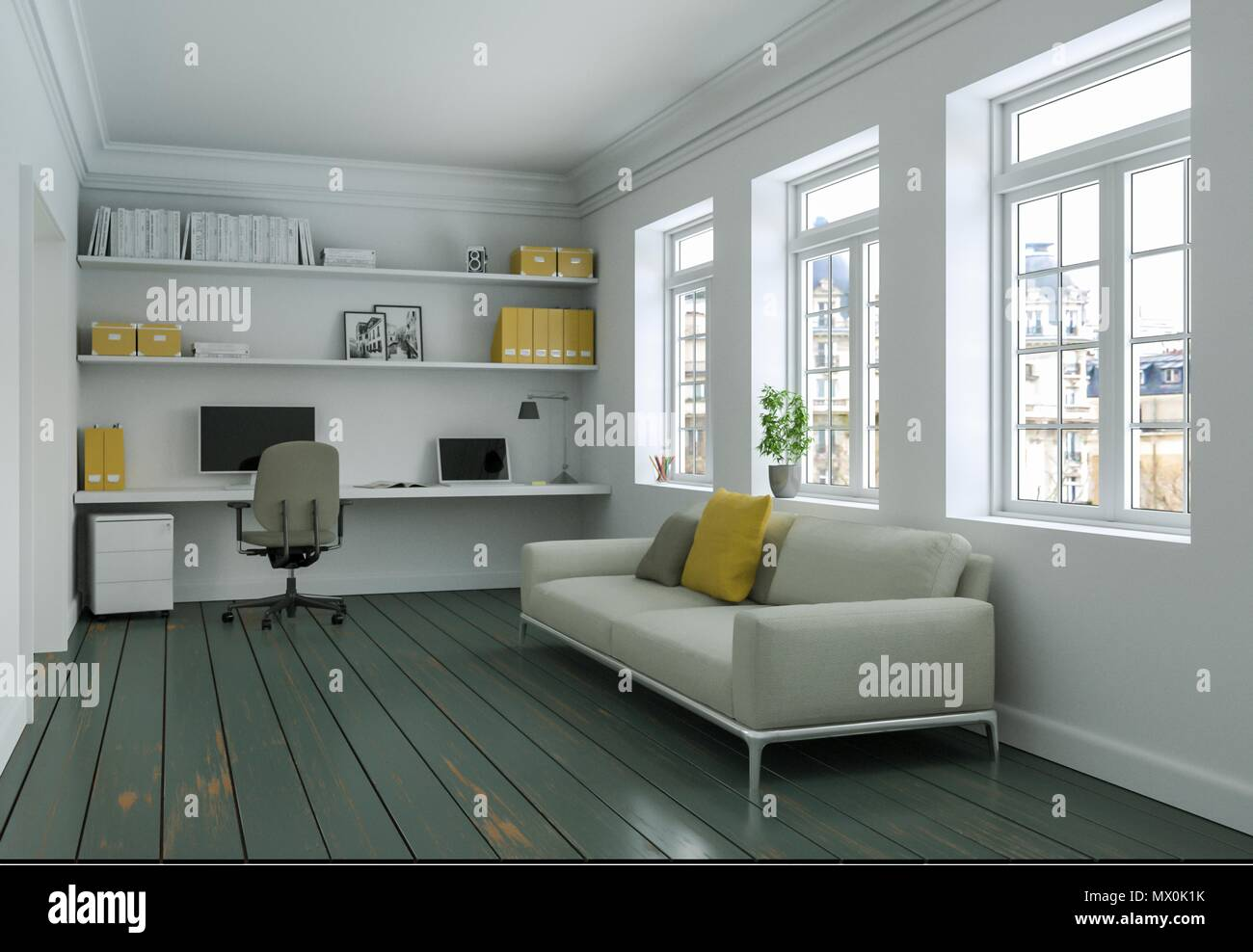 Modern White Yellow Home Office With Sofa Interior Design 3d Rendering Stock Photo Alamy