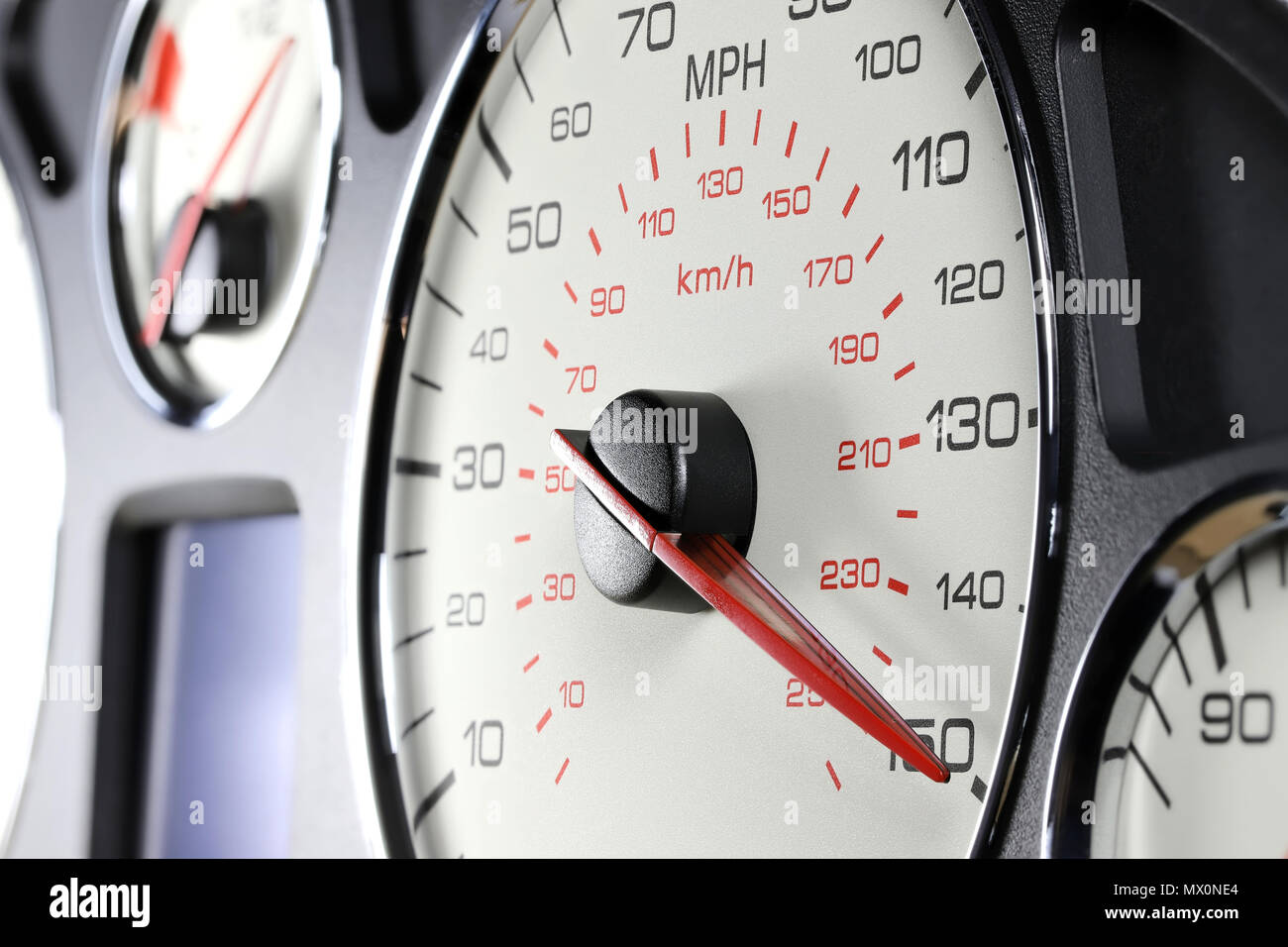 speedometer at 150 MPH - Stock Image