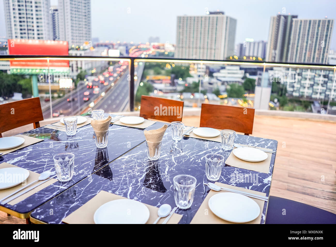 Luxury Private Dinner Rooftop In Bangkok Thailand Stock Photo Alamy