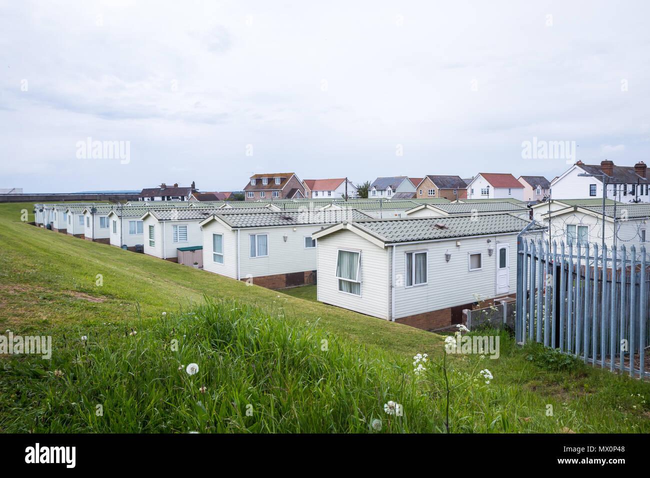 Caravan camp on Canvey island - Stock Image