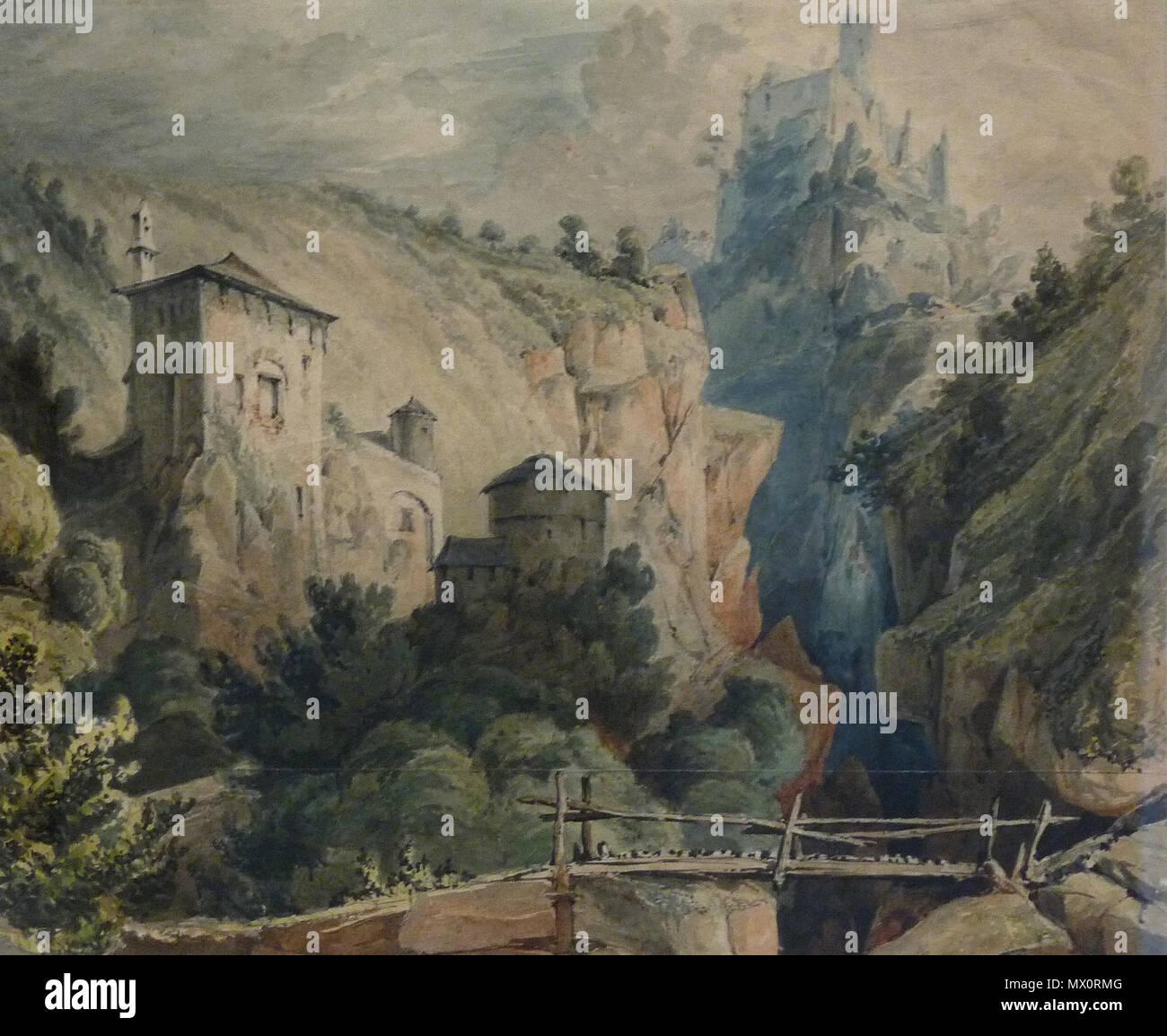 Francais Paysage Du Tyrol Johann Friedrich Helmsdorf Crayon