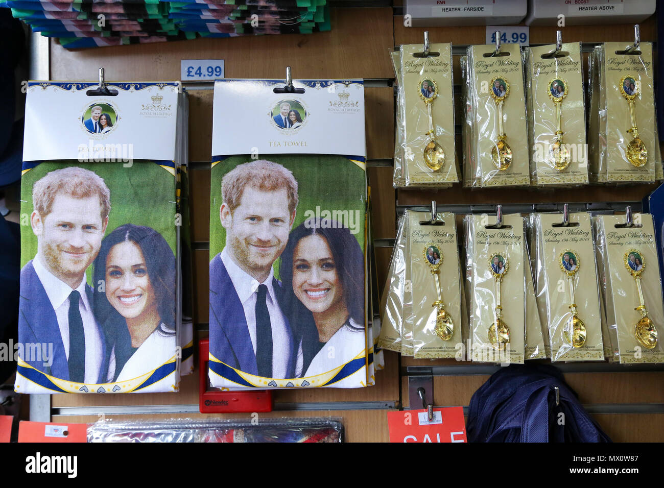 A large selection of memorabilia available in a souvenir shop in Piccadilly Circus to commemorate the wedding of Prince Harry and Meghan Markle on 19 May 2018.  Featuring: Atmosphere, View Where: London, United Kingdom When: 02 May 2018 Credit: Dinendra Haria/WENN Stock Photo