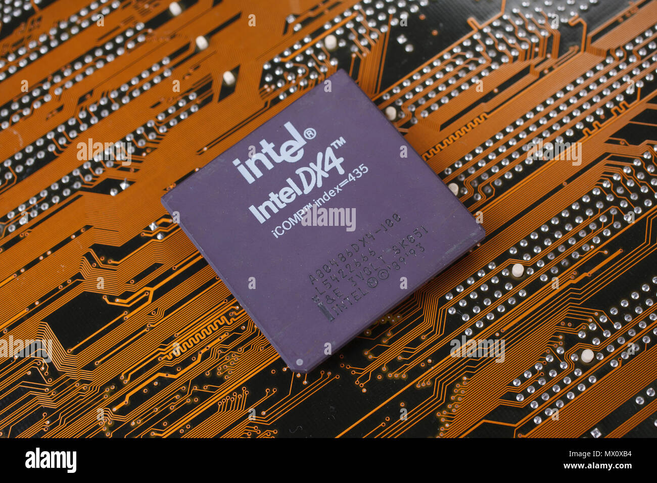 KYIV, UKRAINE - Jan. 28, 2018. Intel 486DX4 processor on motherboard. - Stock Image