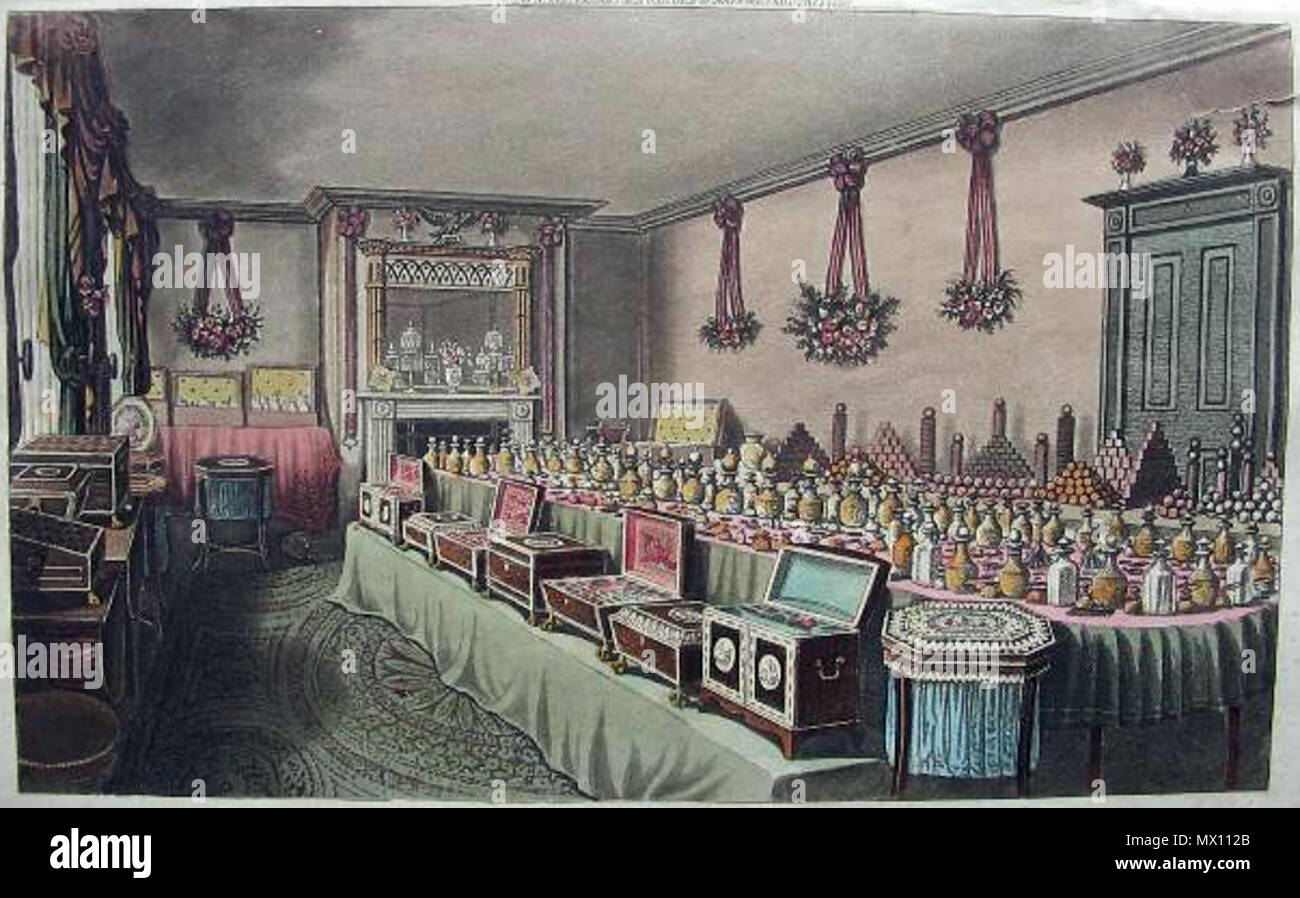 . English: Lavish gifts of perfume prepared for the Emperor of China, as part of a bid for an enhanced trade relationship (Ackerman, 1816); *explanatory text* Source: ebay, Feb. 2007 . 1816. Ackerman, 127 Chinagifts1816a - Stock Image
