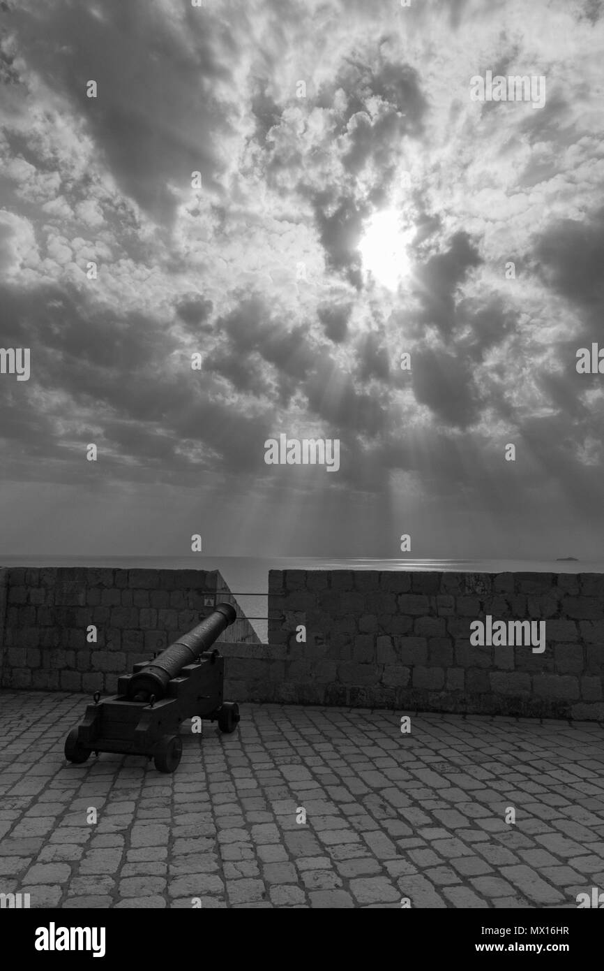 A canon on top level of Fort Lovrijenac, Dubrovnik, Croatia. - Stock Image