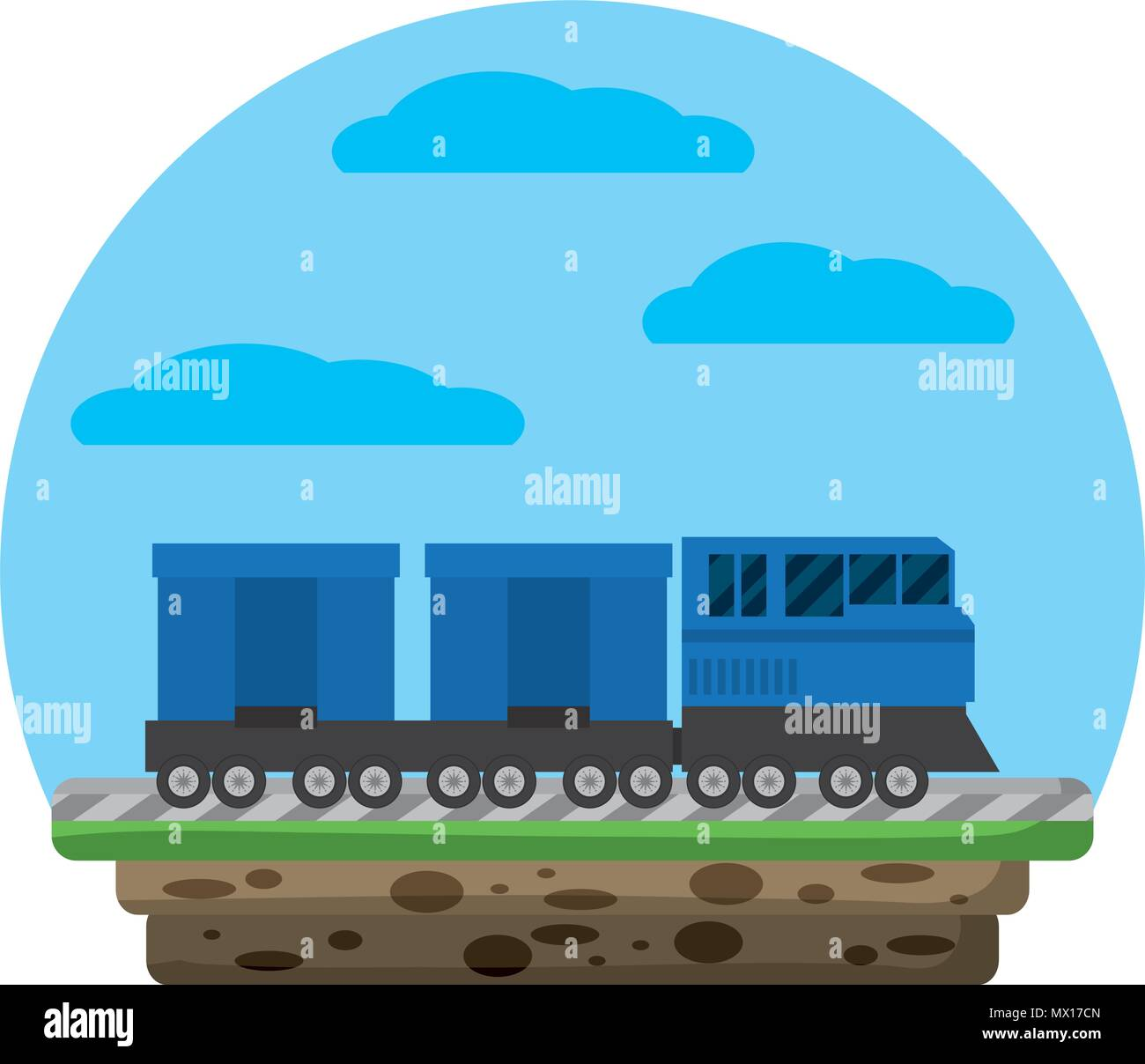 side train transport wagon way carriage - Stock Vector