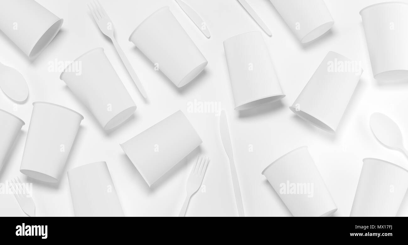 White Realistic Plastic Cups, Forks, Spoons And Knifes Top View 3D Rendering Illustration Stock Photo