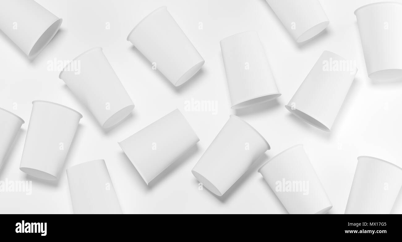 White Realistic Plastic Cups  Top View 3D Rendering Illustration Stock Photo