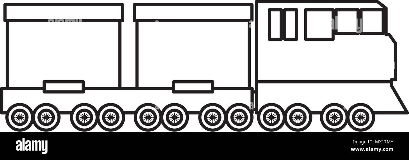 line side train transport wagon technology - Stock Vector