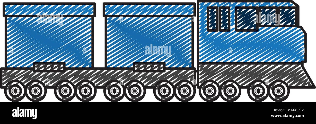 doodle side train transport wagon technology - Stock Vector