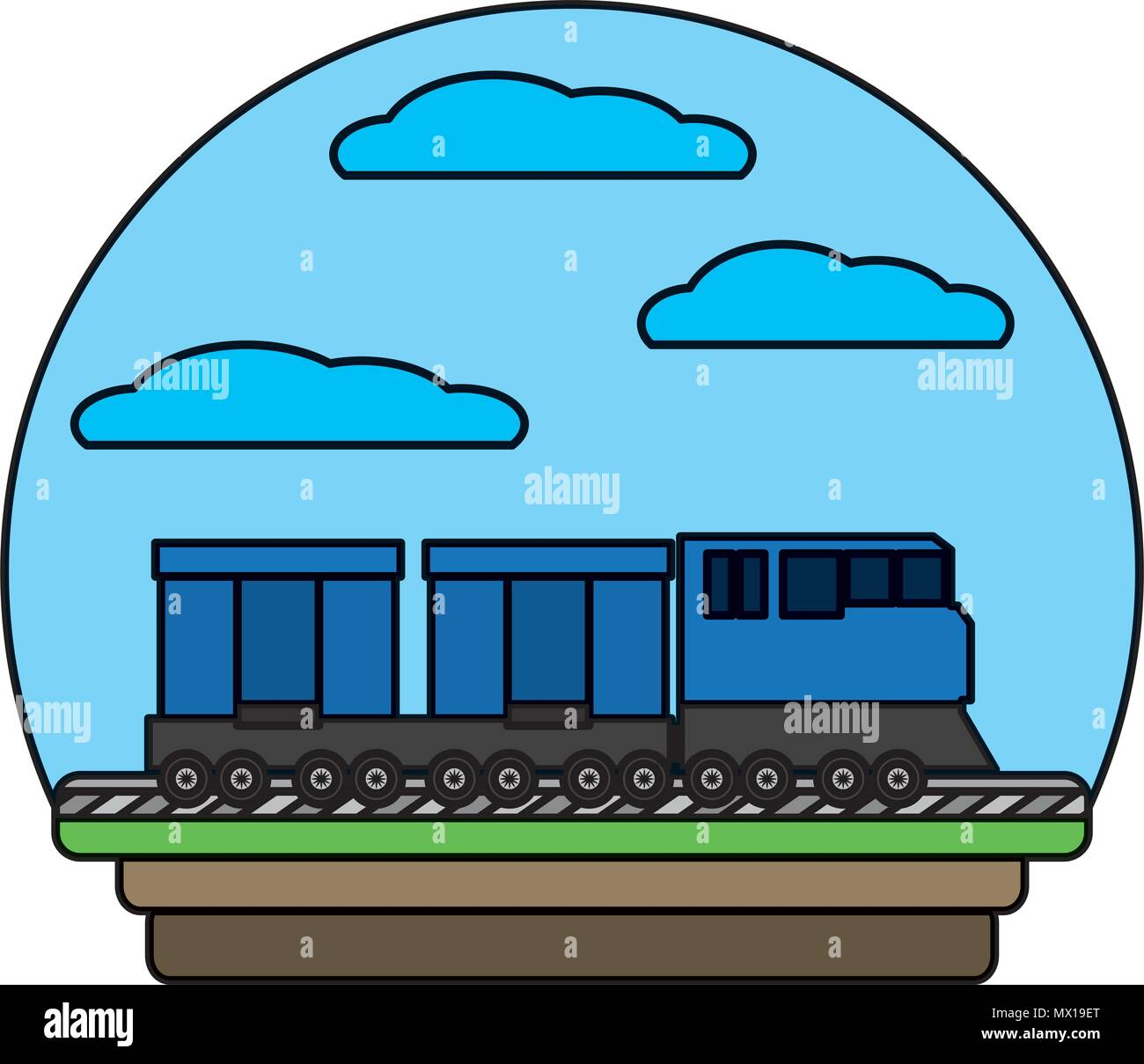 color side train transport wagon technology - Stock Vector