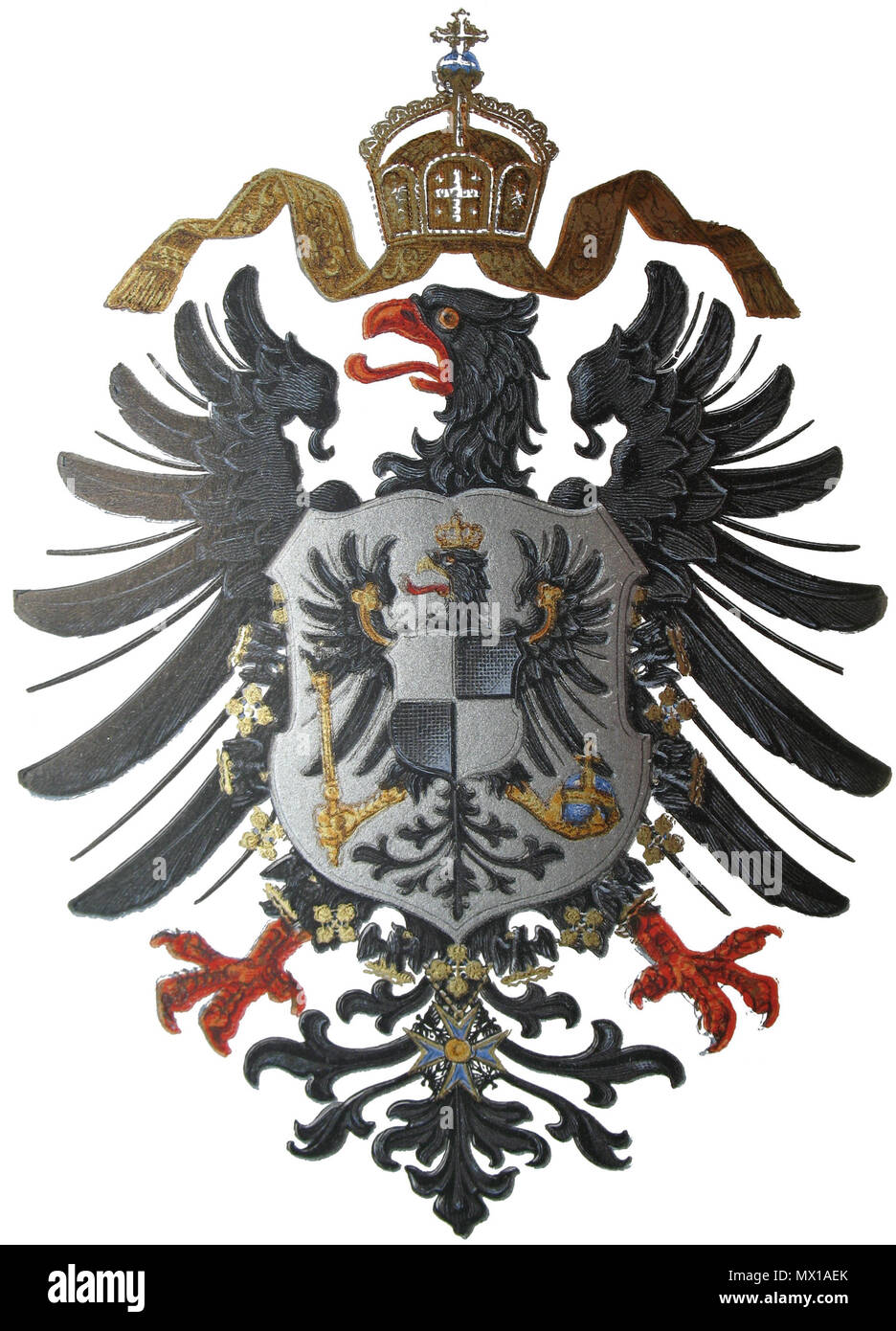 . Deutsch: Reichsadler des Preußisch-Deutschen Kaiserreiches ab 1874. English: Imperial Eagle of the German Empire to 1874. Italiano: Stemma dell'Impero Germanico (1874) . 1874. Unknown 295 Imperial Coat of arms of Germany (1874) Stock Photo