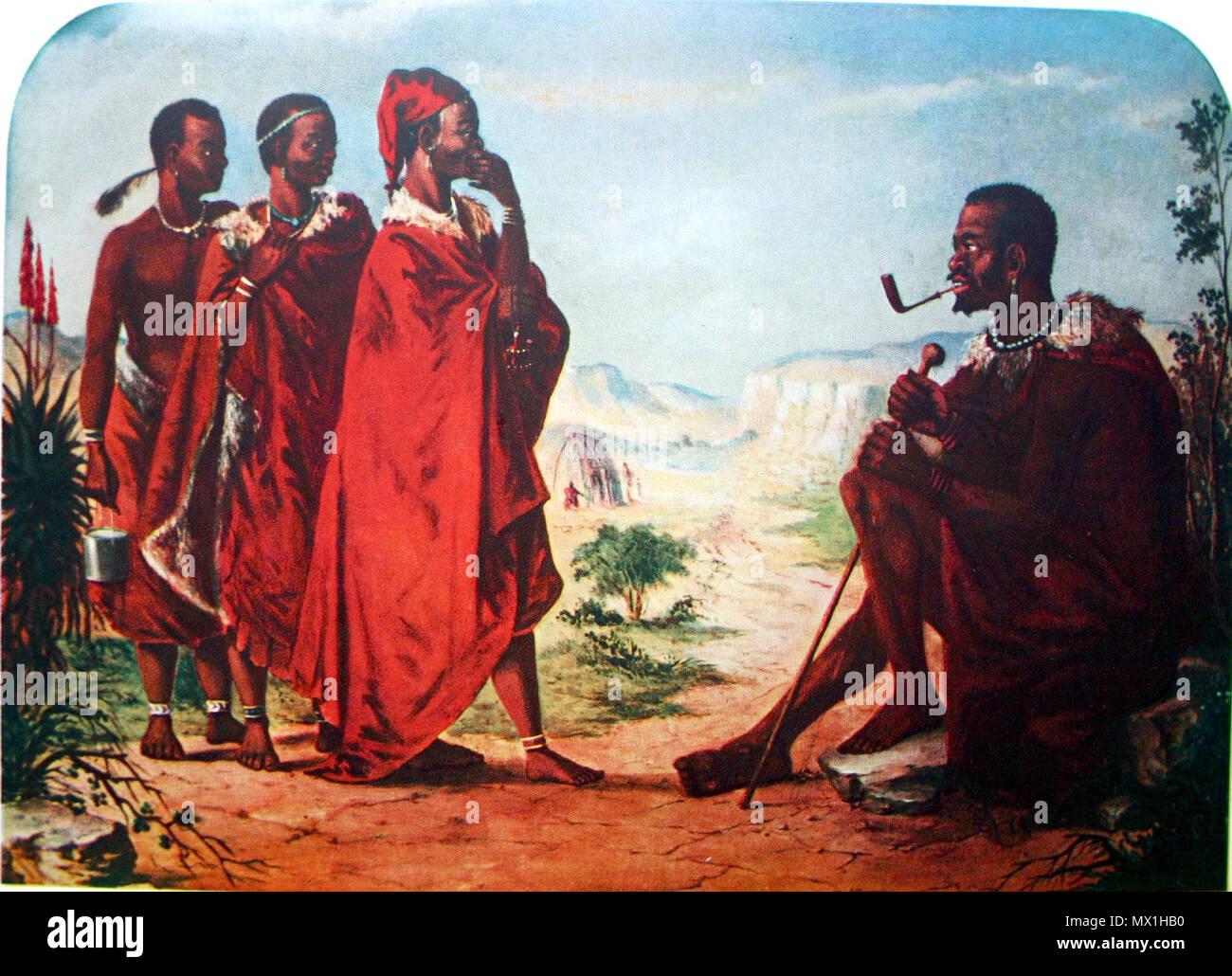 . English: 'Three Tribesmen addressing Sandile', painting by Frederick Timpson I'Ons (1802-1887) . before 1887. J. J. Redgrave & Edna Bradlow 221 Frederick Timpson I'Ons02 - Stock Image