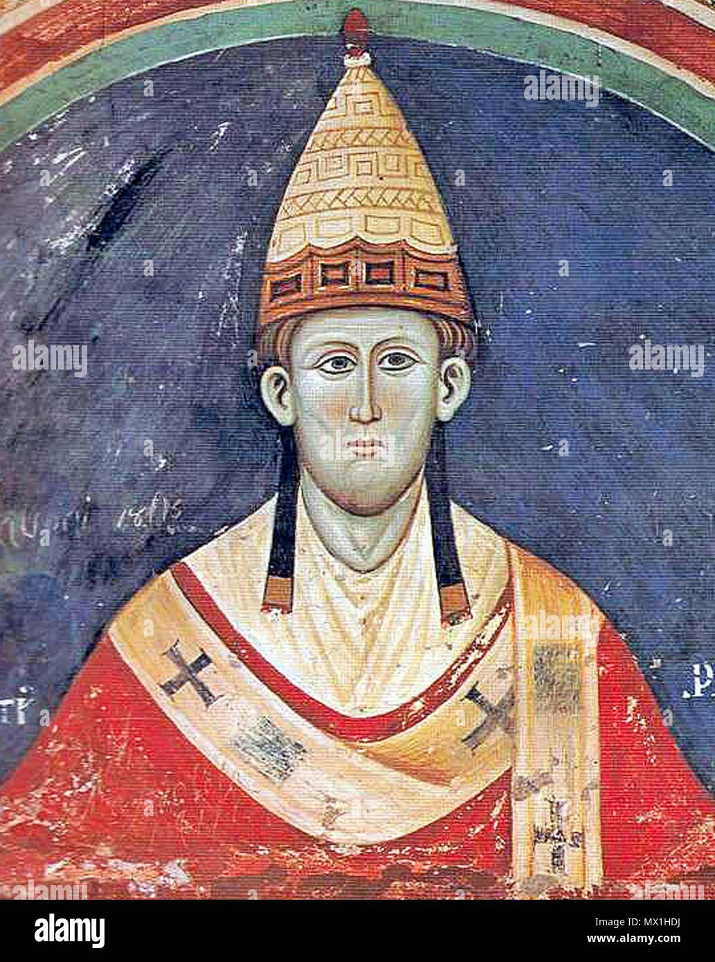 .  English: Pope Innocent III wearing a Y-shaped pallium.  . circa 1219. unknown Artist (13. Cent.) 298 Innozenz3 - Stock Image