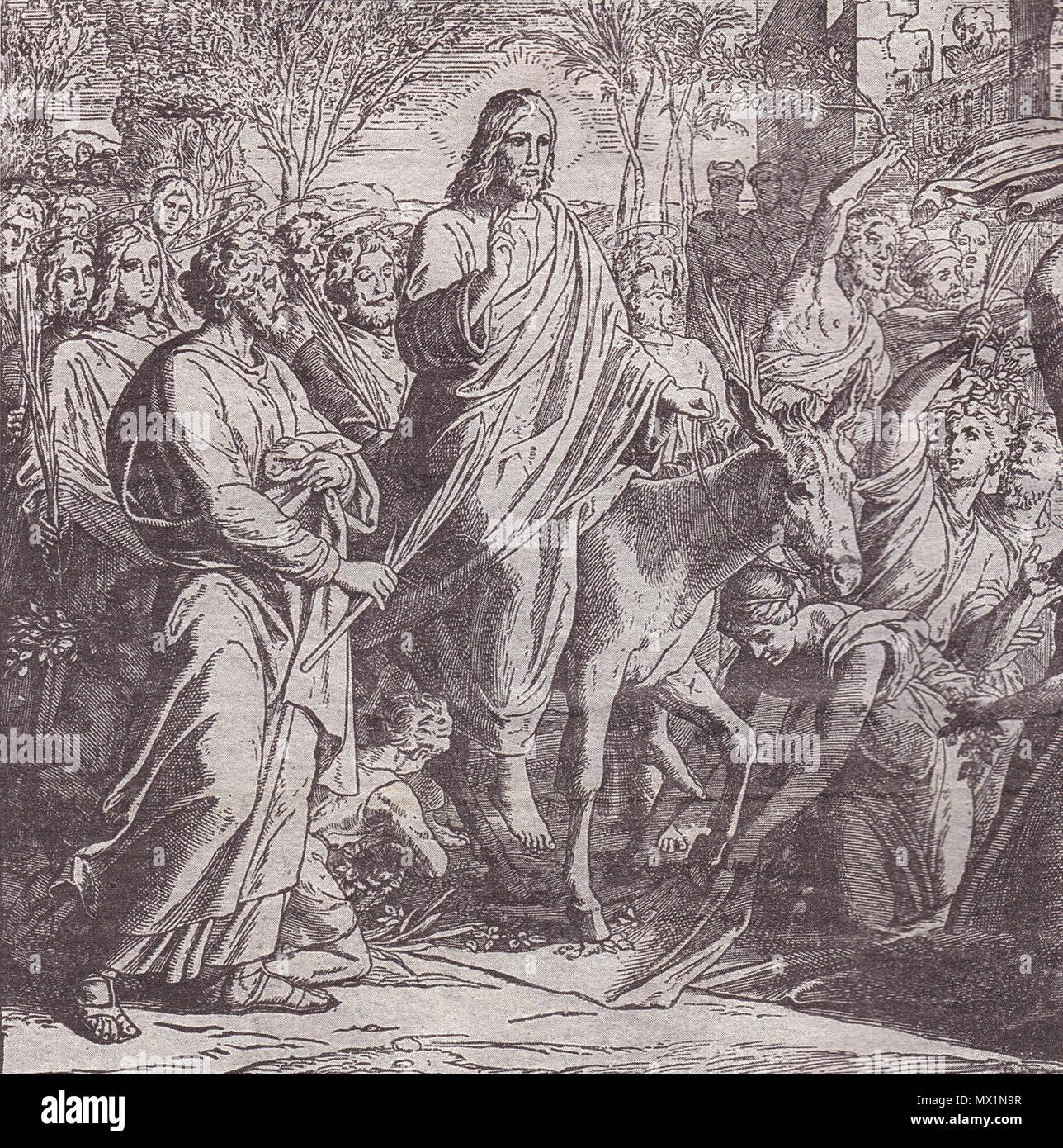 . Svenska: Jesus's triumphal entry into Jerusalem. Woodcut for 'Die Bibel in Bildern', 1860. 1850s. Julius Schnorr von Carolsfeld 315 Jesus entry into Jerusalem Stock Photo