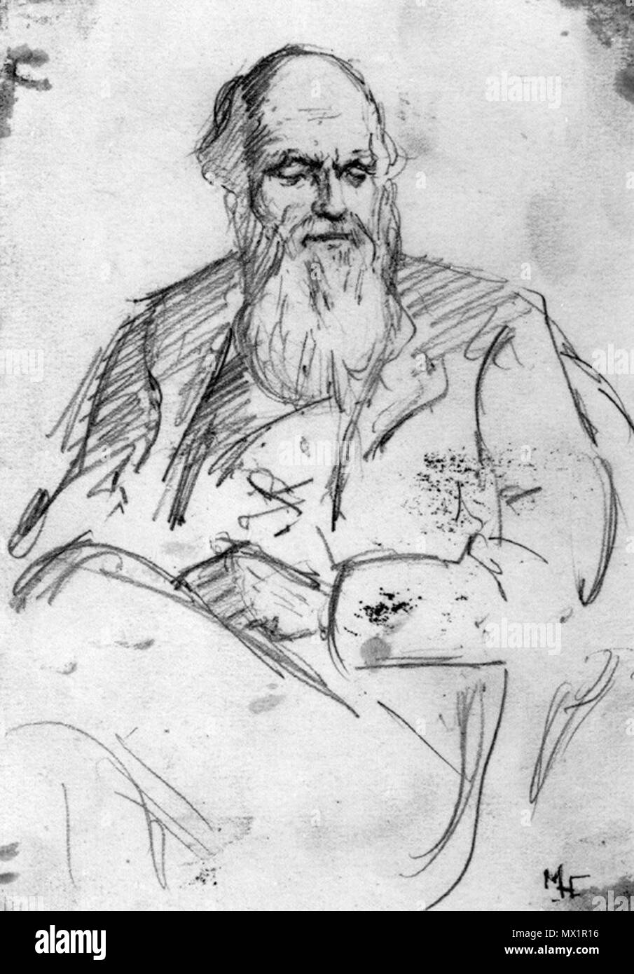 English a pencil sketch of charles darwin 7 1 8 in x 4 7 8 in 181 mm x 124 mm 1878 marion collier née huxley 1859 1887 154 charles darwin sketch