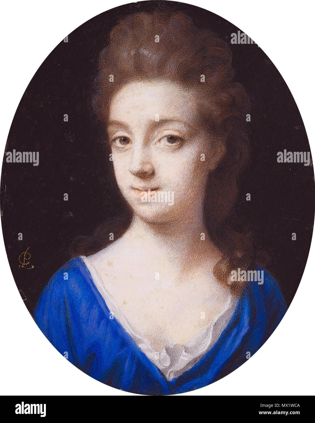 . English: Carey, daughter of Sir Alexander Fraser Bt., wife of Charles Mordaunt, 3rd Earl of Peterborough on vellum oval, 8,7 cm high signed l.c.: PC  . second half of 17th century. Peter Cross (c 1650-1724) 113 Carey, Countess of Peterborough, by Peter Cross (c 1650-1724) - Stock Image