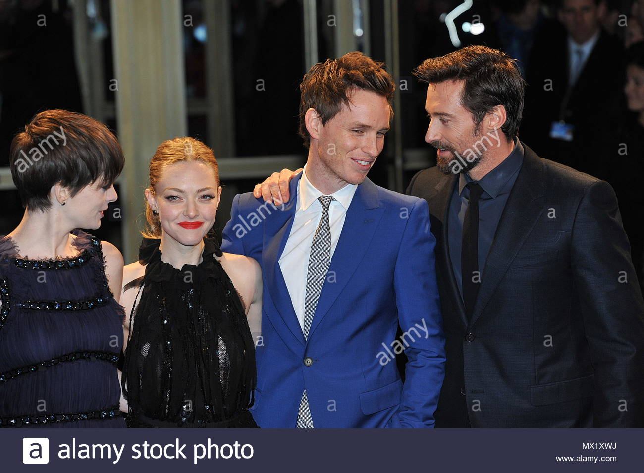 """Anne Hathaway,Amanda Seyfried,Eddie Redmayne,Hugh Jackman. Cast of Les  Miserables poses on the red carpet for """"Les Miserables"""" Premiere during the  63Th ..."""