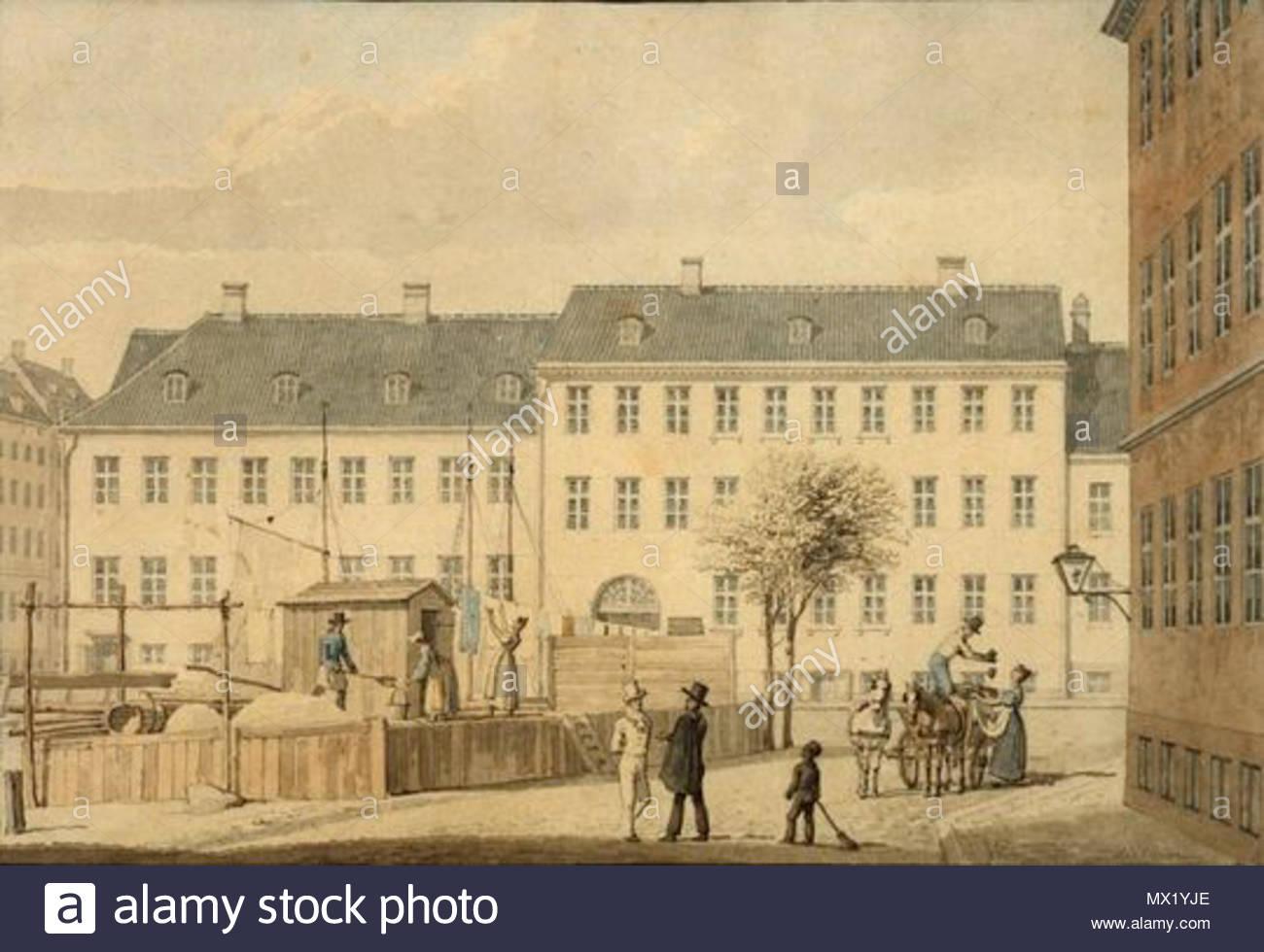 . Sandkiste (sand deposit?) - at Frederiksholms Kanal in Copenhagen, Denmark . 1835. G. F. Holm 263 H. G. F. Holm - Frederiksholms Kanal, 1835 - Stock Image