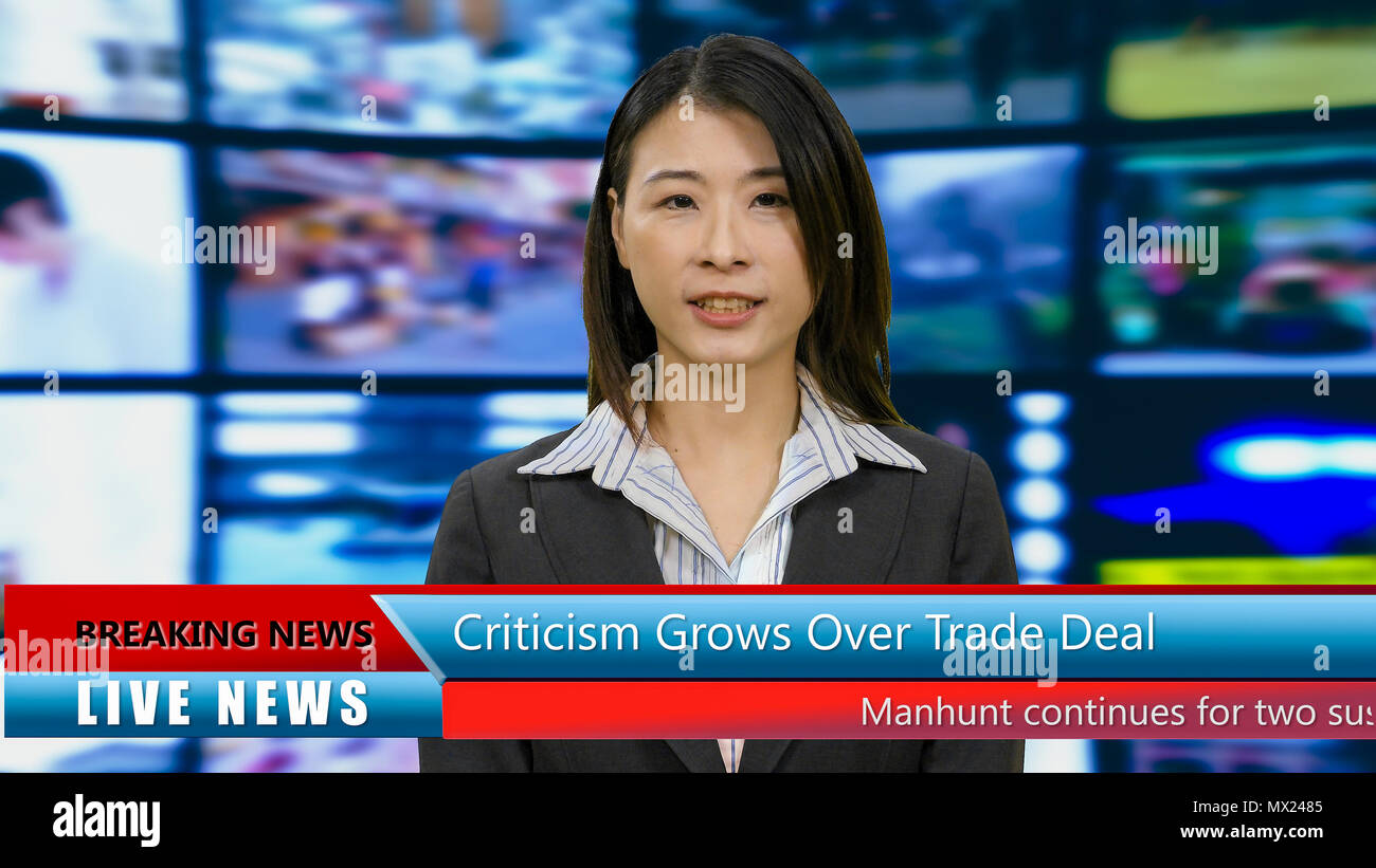 Newscaster Broadcast Stock Photos & Newscaster Broadcast