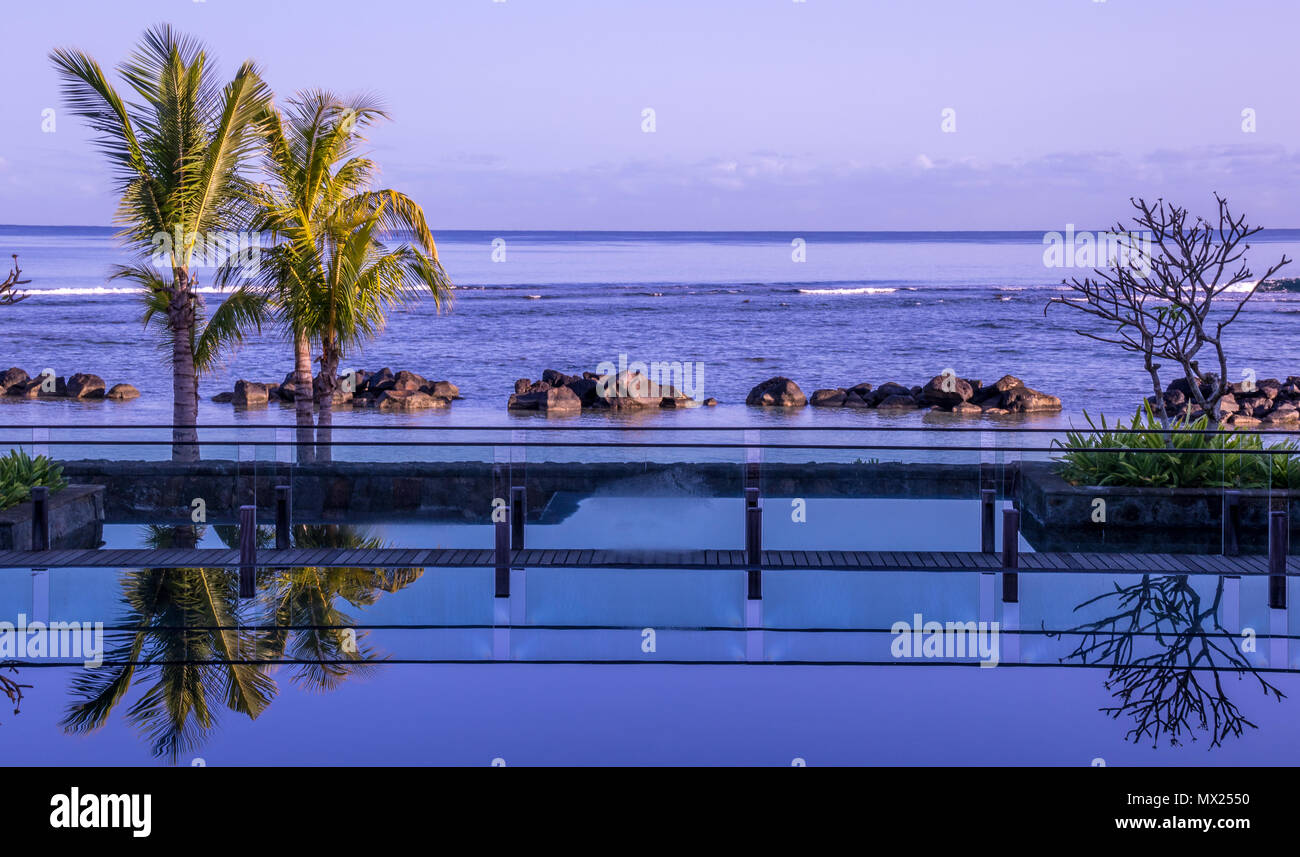 Balaclava, Mauritius - The Westin Turtle Bay Resort and Spa has tranquil and relaxed surroundings image with copy space in landscape format - Stock Image