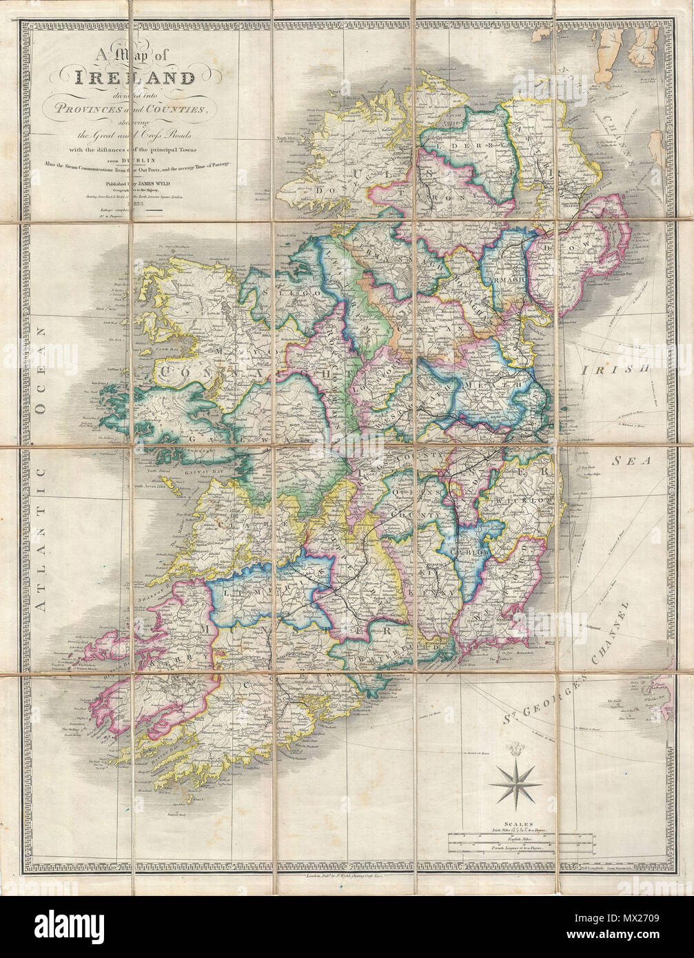 Map Of England And Ireland With Towns.A Map Of Ireland Divided Into Provinces And Counties Shewing The
