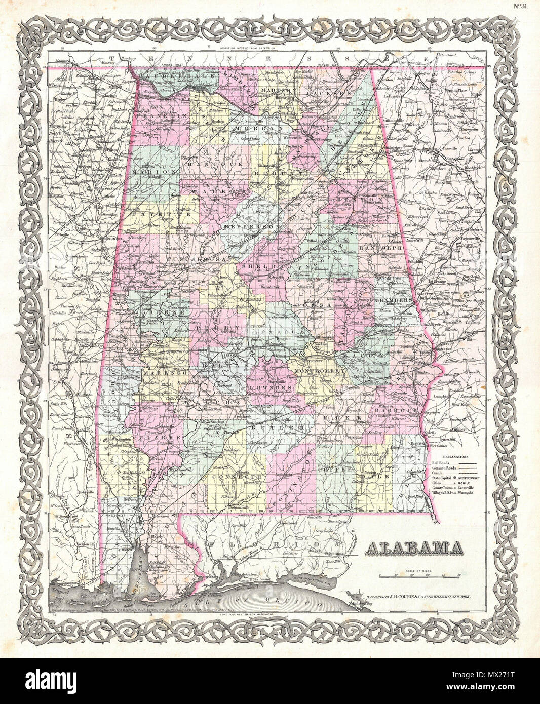 Alabama. English: A beautiful 1855 first edition example of ...