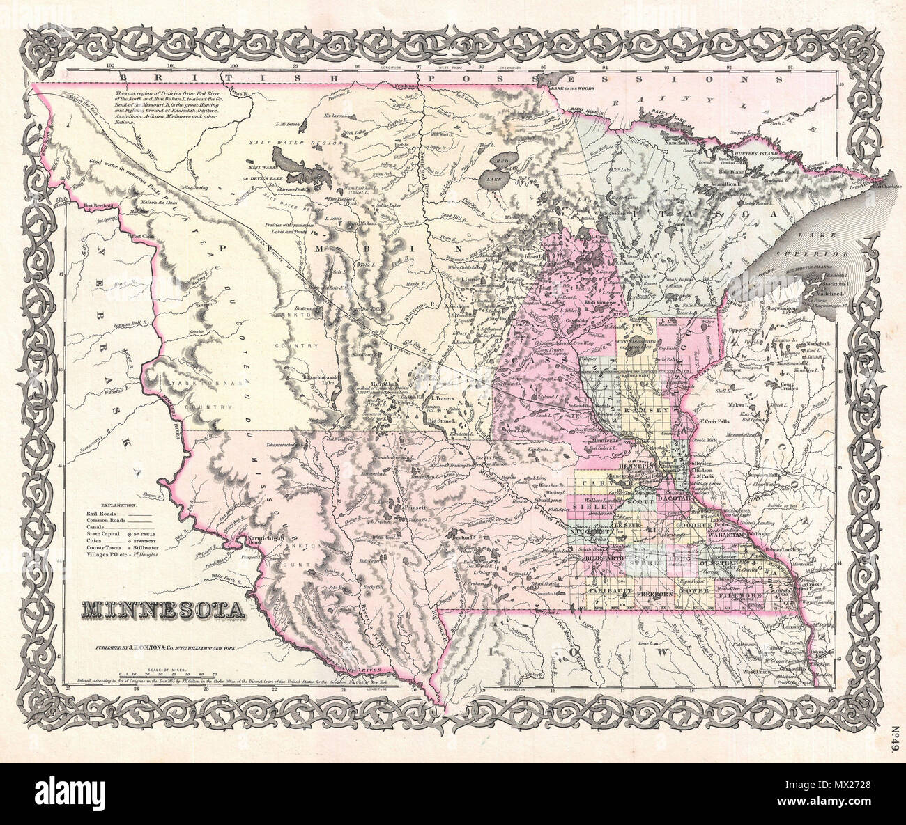 State Map Of North America.Minnesota English A Beautiful 1855 First Edition First State