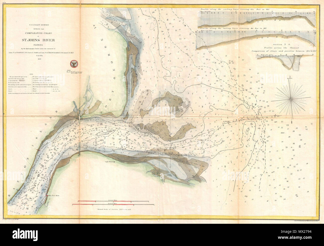 Coastal Map Of Florida.Comparative Chart Of St John S River Florida English An Unusual