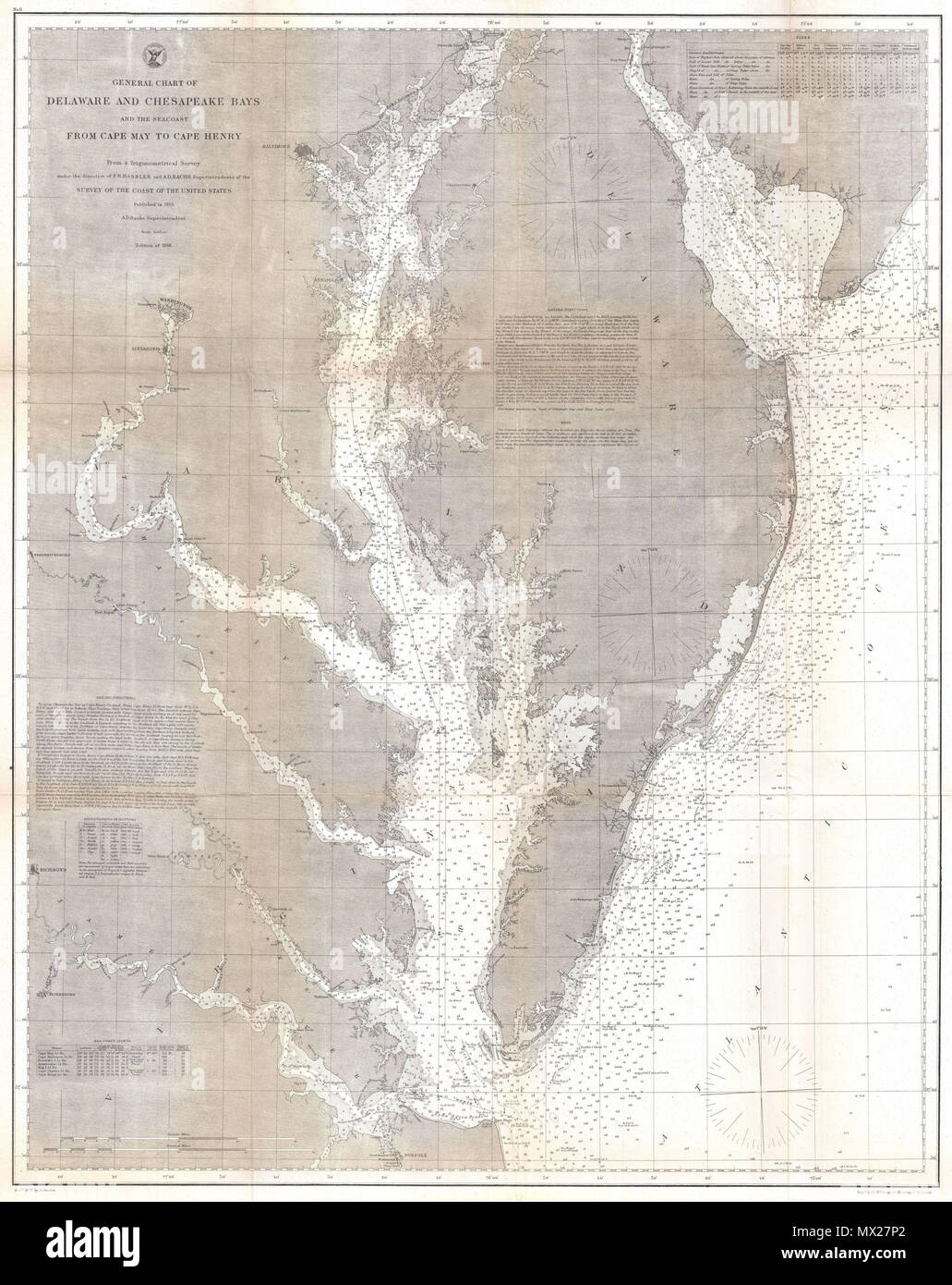 General Chart Of Delaware And Chesapeake Bays And The Sea Coast From